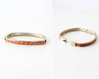70s Snakeskin Bracelet • Vintage Bangle • Gold Plated Bracelet • 70s Jewelry • Brass Bangle Bracelet • Thin Bangle   BR204
