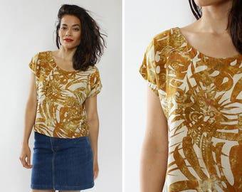 Batik Top S/M • 90s Top • Yellow Top • Batik Shirt • Dolman Sleeve Top • Boho Top • Rayon Top • Boxy Top •90s Shirt | T799