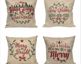 Christmas Pillow Cover - Faux Burlap - Rustic Holiday Decor - Throw Pillow Cover - Holiday Pillows - Christmas Decor Red and Green