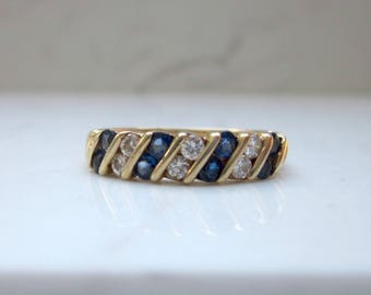 Estate Blue Sapphire and Diamond Channel Set Wedding Anniversary Stackable Band in 14k Solid Yellow Gold, Size 6.25