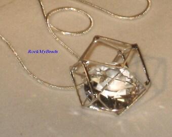 Necklace - Caged Crystal, Crystal Necklace, Crystal Pendant, Caged Crystal Pendant, Necklace, Caged Crystal Necklace, Octagon Caged Crystal