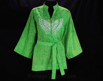 Size 12 Butterfly Print Shirt - Authentic 1960s Early 70s Hippie Top - Half Sleeved Thai Batik Lime Green 60s Cotton - Bust 40 - 49079