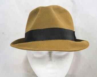Men's 50s 60s Hat - Caramel Tan Wool 1960s Fedora - Size 7 1/4 - Rich Brown - Black Grosgrain Band - Cavanagh Hats for G. Fox & Co - 49150