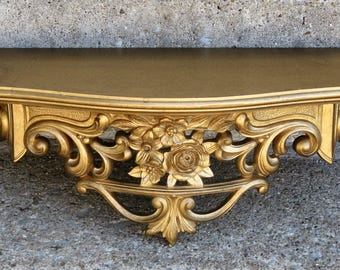 syroco demilune gold floral wall shelf 1965 wood top shabby cottage french apartment feminine