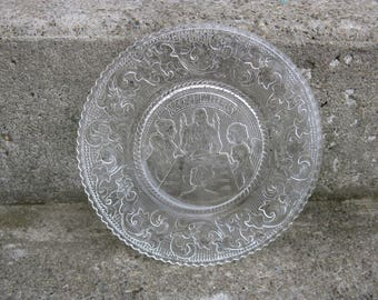 indiana glass November plate of the month tiara glass sandwich glass hard to find