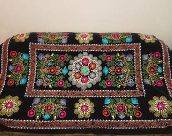 Vintage Uzbek silk embroidery on black velvet suzani. Bed cover, wall hanging, home decor suzani. SW069