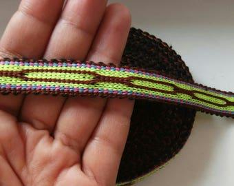 Uzbek color woven trim Jiyak. Ethnic Boho trim. NTR050