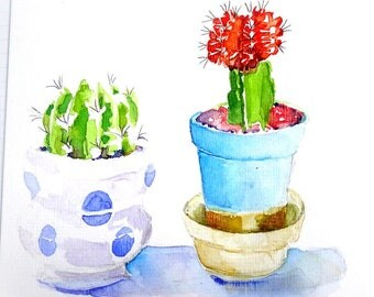 Original watercolour card. Cactussen. Zomerkaart 2017. Summercard.