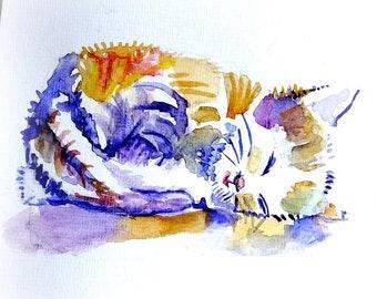 Sweet kitten. Original watercolour.