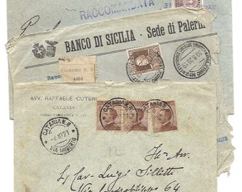 3 Antique ENVELOPE from Italy - Italian handwritten envelopes - Palermo, Sicily