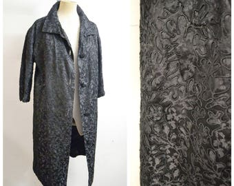 1950s Black soutache embroidery taffeta evening coat / 50s 60s embroidered long jacket overcoat - L