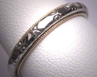 Antique Eternity Band Ring Sterling Gold Vintage Art Deco Wedding 8 3/4 Rare Size