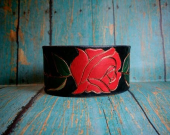 Leather Cuff Bracelet, Custom Bracelet, Leather Bracelet for Women, Leather Bracelets, Mother's Day, Rose, Custom, Rogue Gothique
