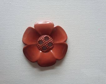 Extra Large Flower Button - Brown/rust