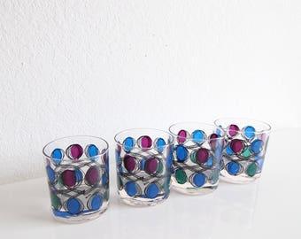 VINTAGE Mid Century Barware Glasses Old Fashioned 1960s Set of 4 Berta