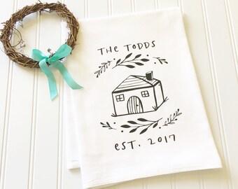 personalized tea towel, new home tea towel, new home owner gift, newlywed gift, housewarming gift, custom tea towel, hostess gift