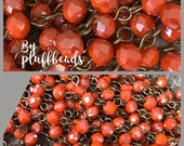 SALE NEW chain Handcrafted linked beaded chain 6mm Opaque PERSIMMON luster faceted crystal beads American Artisan