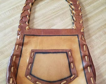 Vintage Brown Tan Leather Tooled Purse Shoulder Bag Snaps Hippie