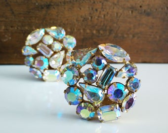 Vintage AB Rhinestone Weiss Earrings / Aurora borealis / Signed Clip On / MidCentury Costume Jewelry