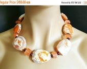 """50% Off Sale New! Orange and White Crackled Agate and Jade Stone Statement Necklace """"Naranja"""""""