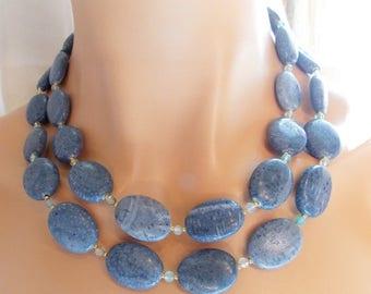 25% OFF SALE Multi Strand Blue Coral Statement Necklace Aqua Blue Agate Bib Necklace