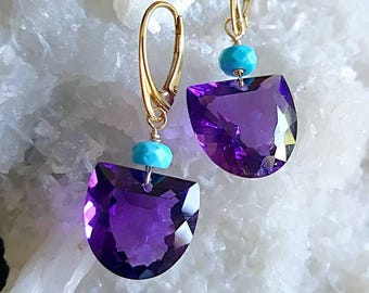 15% Off Sale African Amethyst with Sleeping Beauty Turquoise Modern Minimal Earrings February Birthstone Gift for Her