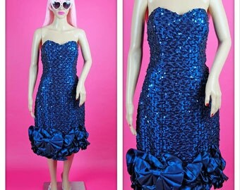 Vintage 1980s Blue Strapless Sweetheart Sequined Mermaid Party Dress