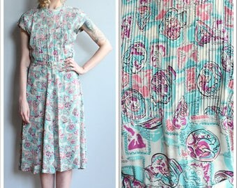 1940s Dress // Magical Vase Novelty Silk Dress // vintage 40s dress