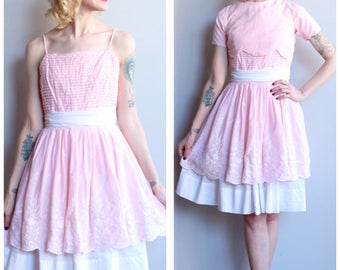 1950s Dress // Prima Teena Eyelet and Lace Dress // vintage 50s dress