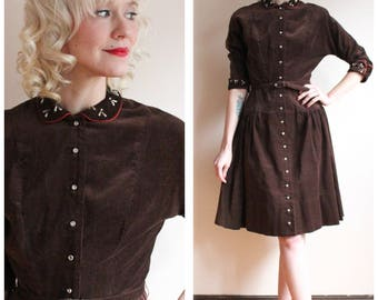 1950s Dress // Toni Todd Corduroy Studded Dress // vintage 50s dress