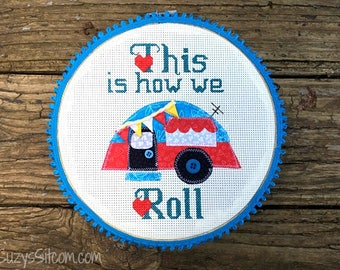 camper pattern, digital pattern, cross-stitch, embroidery, applique, sewing, camping, gift, travel
