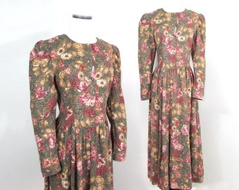 Laura Ashley dress - cotton/wool blend 80s romantic, boho style in olive tan & rose floral - S