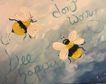 Canvas art peaceful Beeee Happy
