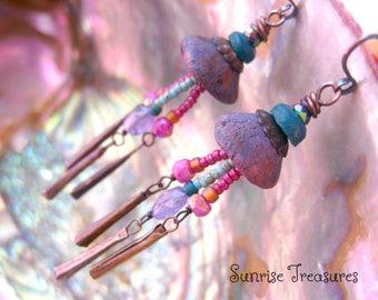 Rustic Organic Artisan Clay Earrings, Lilac Lavender Iolite Earrings, Pink Moonstone Earrings, Semi Precious Gemstone Jewelry