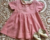 Vintage baby dress, handmade, pink, calico, Peter Pan collar, baby gift, doll dress