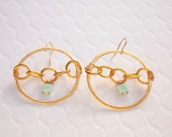 Orbit Hoop Earrings, Handcrafted Wire Wrapped Hoop Earrings, Aqua Glass, OOAK, Ready to Ship