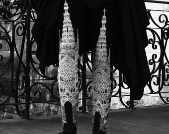 Ready to Ship - Gothic Architecture Cathedral Church Illustrated Dark Printed Black & White Limited Edition Art Leggings