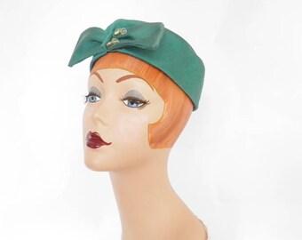 Vintage 1960s hat, teal pillbox by Ronnie
