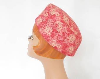 Pink 1960s hat, vintage  Mr. John, 60s flowered pillbox