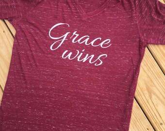 Grace Wins - Short Sleeve V-Neck T-Shirt