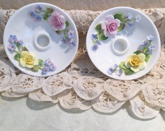 Coalport Bone China Mintute Candlestick Holders