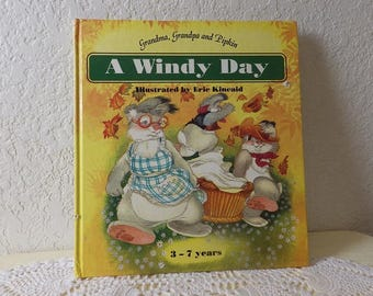 A Windy Day - Children's Book. Adorable Illustrations by Eric Kincaid, Glossy Hardcover, Near New, 1992