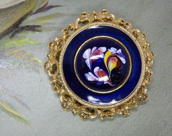 FLORENZA Signed Hand Painted Blue Cabochon Gold Brooch    OEX32