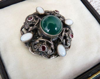 Silver Antique Austro Hungarian Real Gems Brooch White Opals Red Garnets Green Onyx