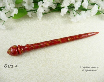 NEW Hair Stick Longer Length Golden Ruby Acrylic