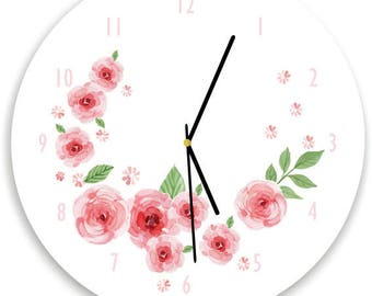 Modern Colorful Floral Wall clock, Floral Nursery Room Decor, Pink Roses, Girls WALL CLOCK, Kids Wall Clock