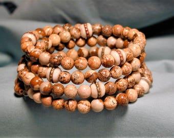 Jasper & Inlaid Tibetan Yak Bone Bead Wrap Bracelet OOAK