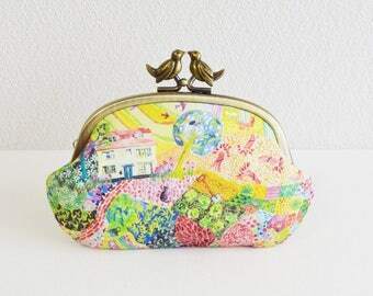 Liberty novelty frame coin purse with birds -hilltop, meadow, countryside, colorful