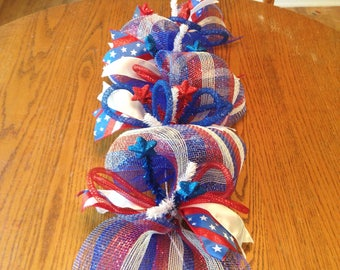 4th of July Centerpiece - Patriotic Table Decor - Independence Day Party Decoration - Red White and Blue