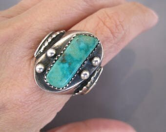 Vintage Sterling Turquoise Navajo Dome Ring